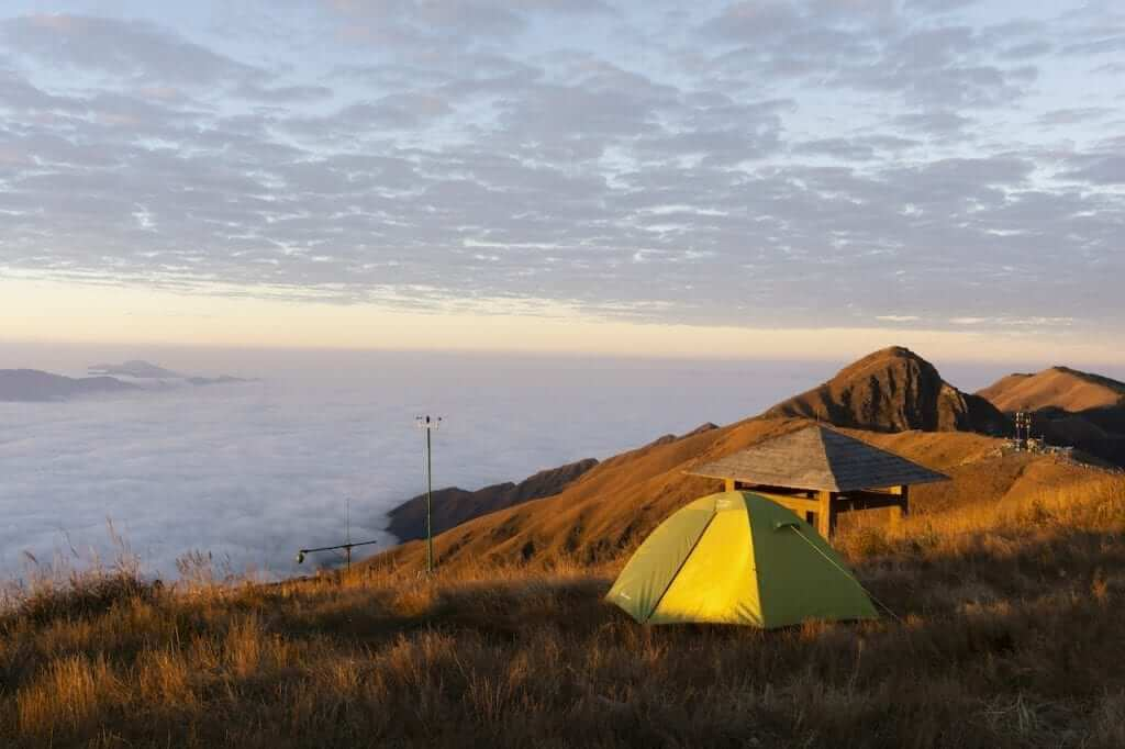 Camping on a mountaintop in Jiangxi Province.
