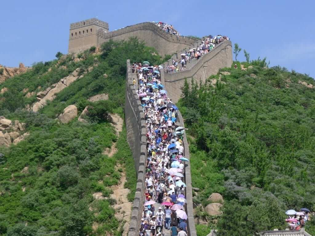 Despite its impressive length, the Great Wall of China can get extremely crowded at certain sections during the peak travel season.
