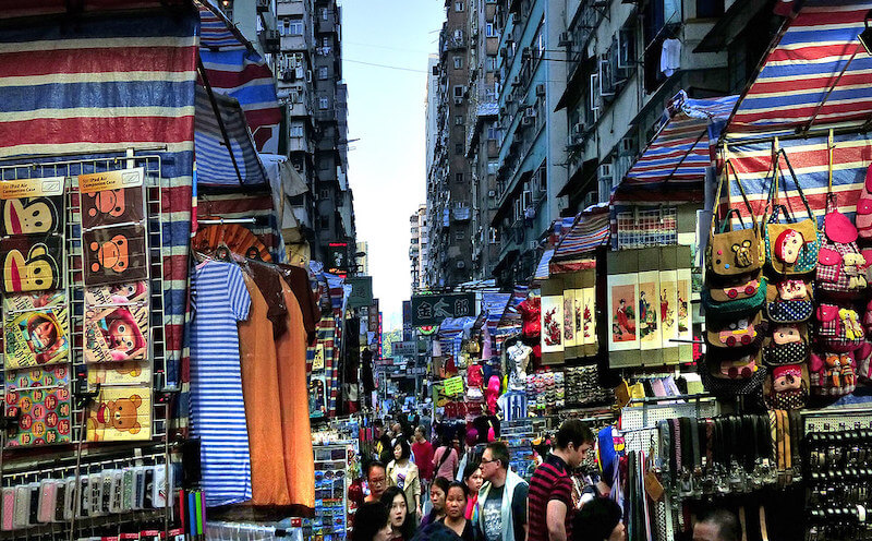 Mongkok Ladies Market is filled with shoes, watches, clothing, bags, cosmetics, toys and more