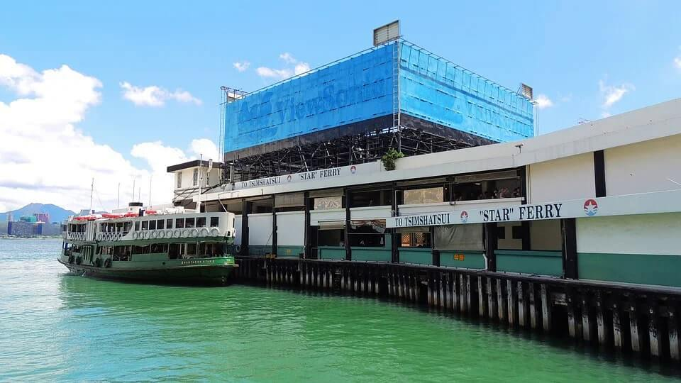 The boarding point for the Star Ferry in Hong Kong