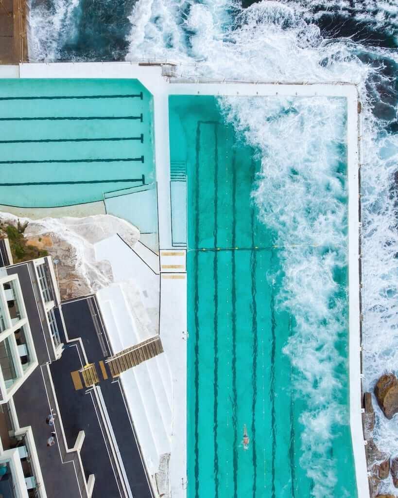 An aerial view of the Bondi Baths at the Iceberg Club