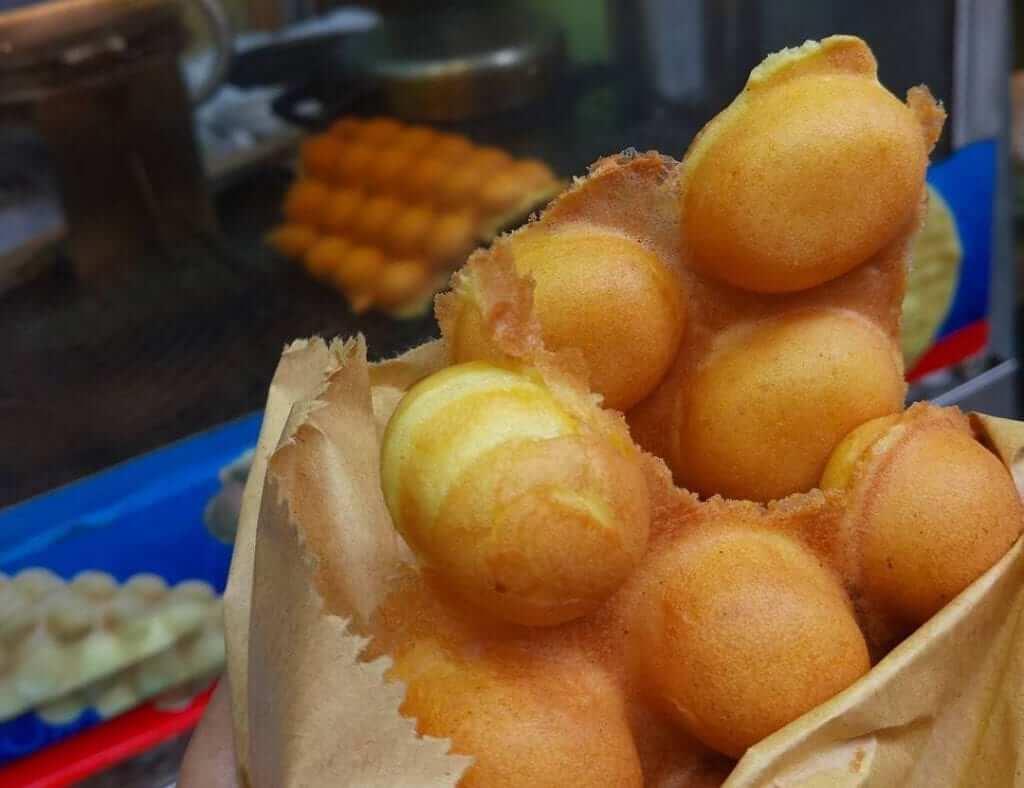 One of Hong Kong's famous street snacks: Egg waffles