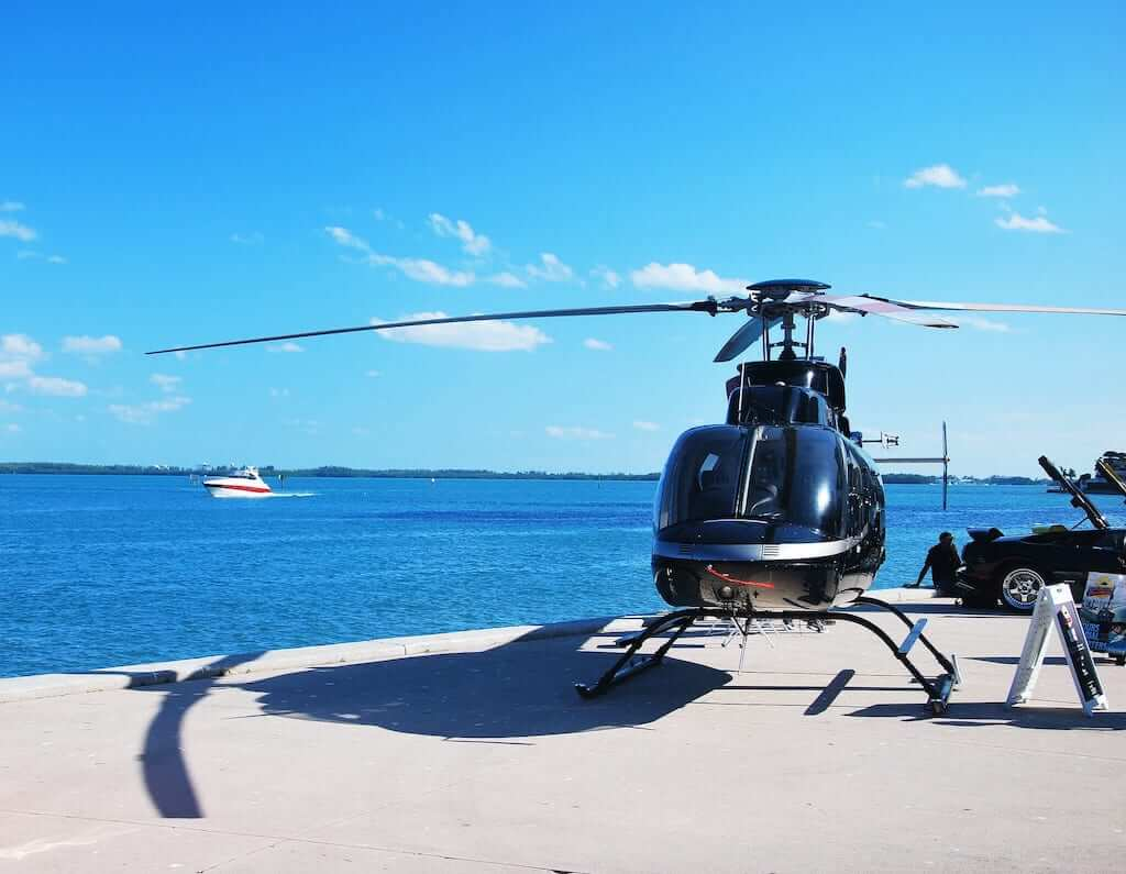 helicopter at the bay