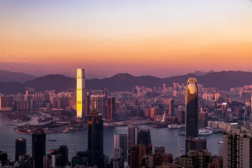 The Hong Kong skyline during sunset