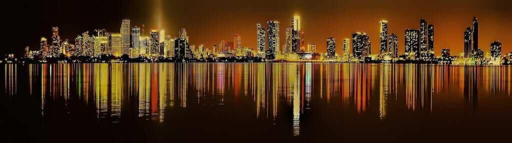 miami skyline night