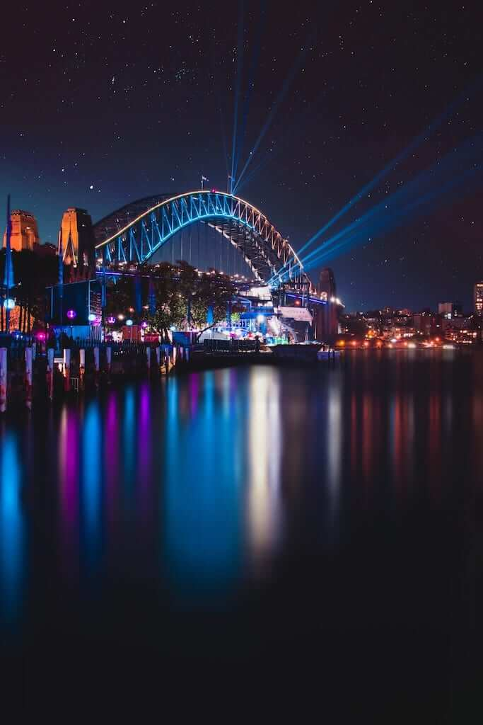 Beam lights coming from the Sydney Harbour Bridge at night