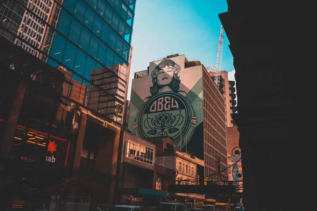 A huge mural on the side of a building wall in Sydney CBD