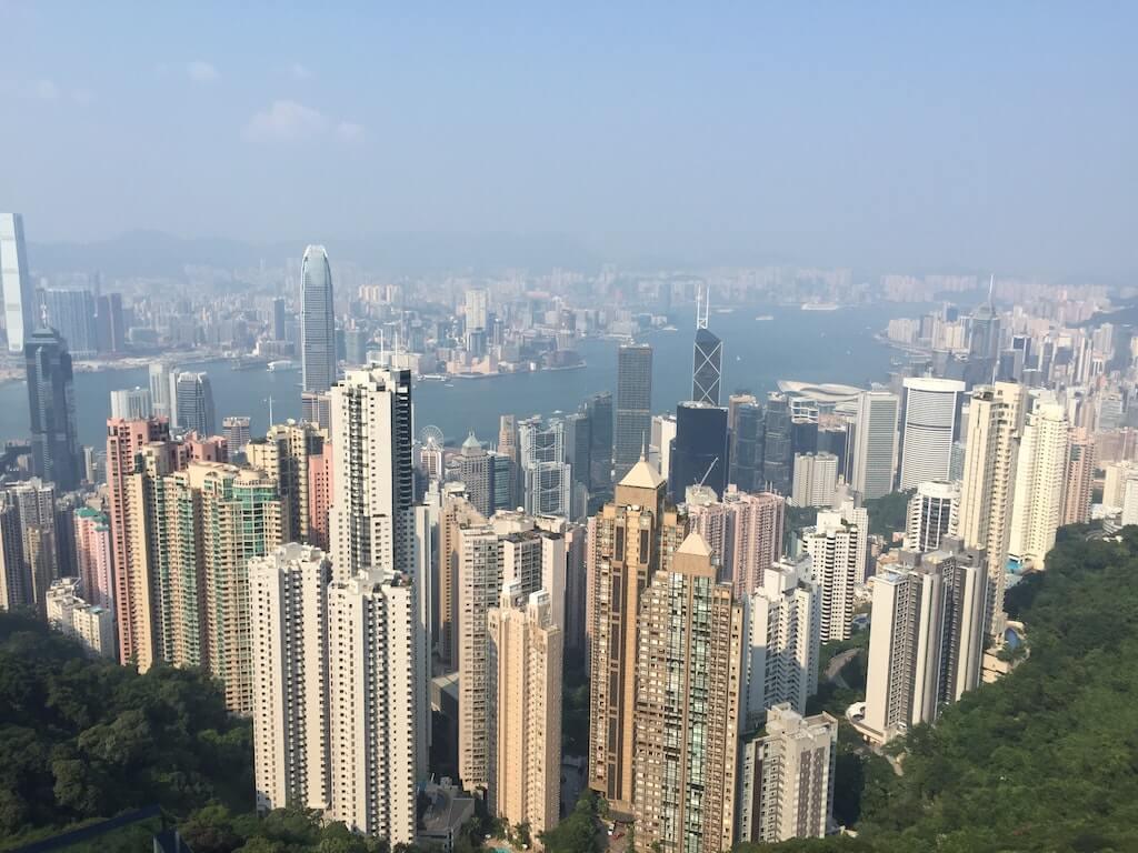 Skyscraper views as seen from The Peak in Hong Kong