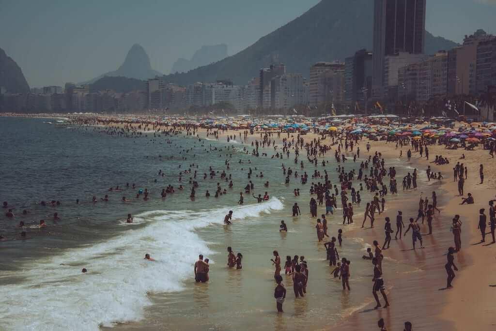 A crowded Brazilian beach