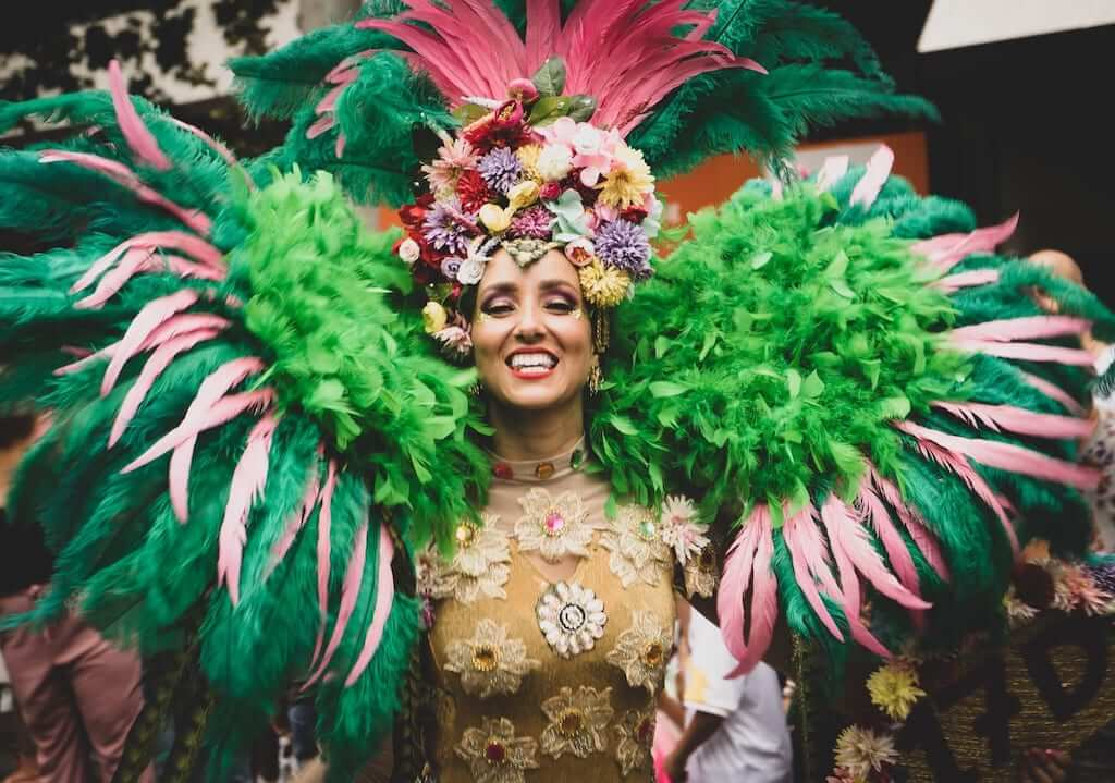 woman wearing colorful costume during the brazil carnival