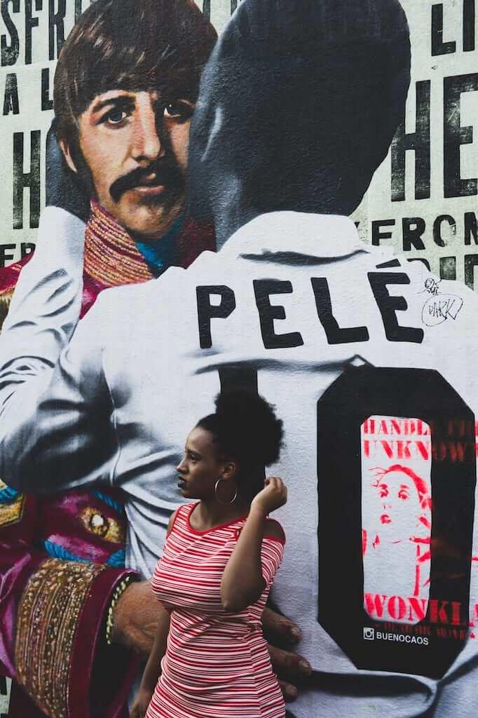 Mural of famous Brazilian soccer player Pele