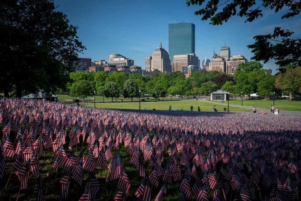 boston usa flags