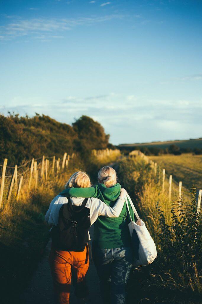 friends happy walk