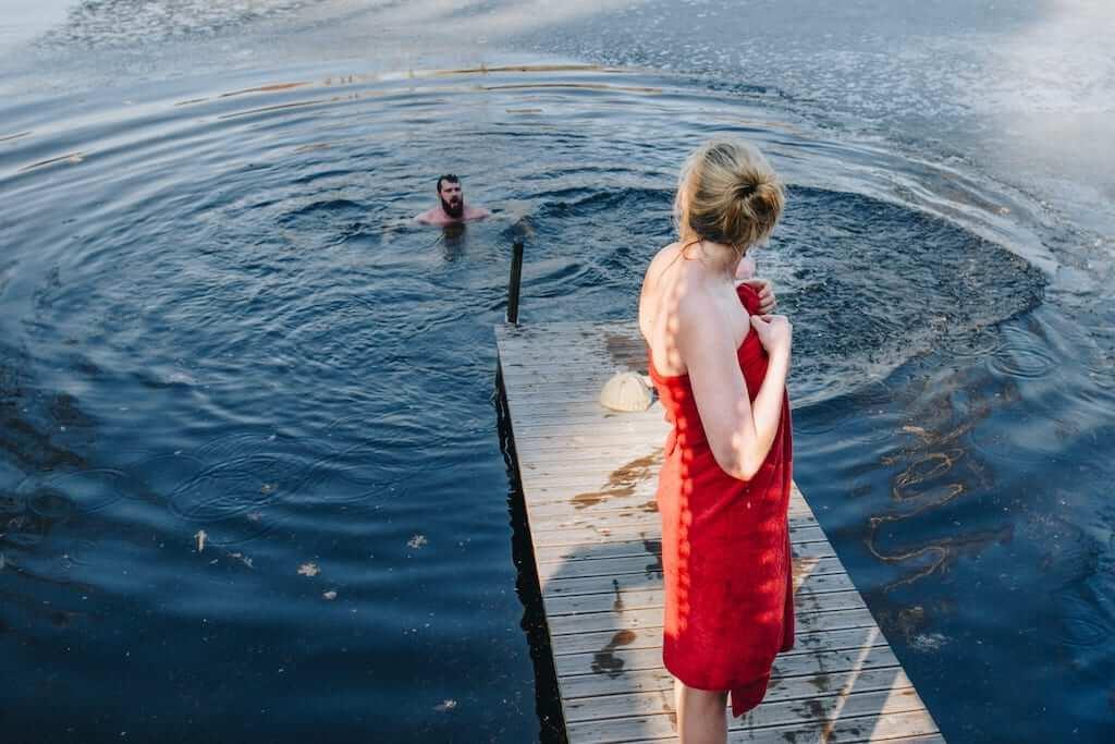 girl towel swim lake