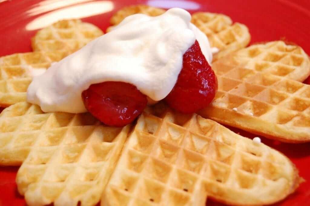 heart waffles strawberry