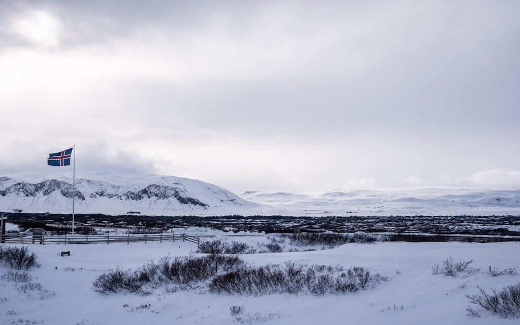 iceland flag snow