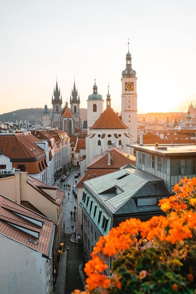 Beautiful Prague skyline