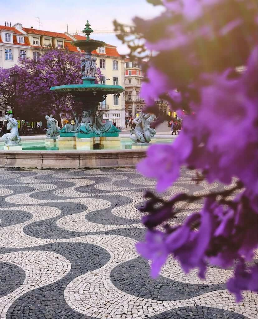 Picture above, one of the statues of Rossio Square and its representative pavement