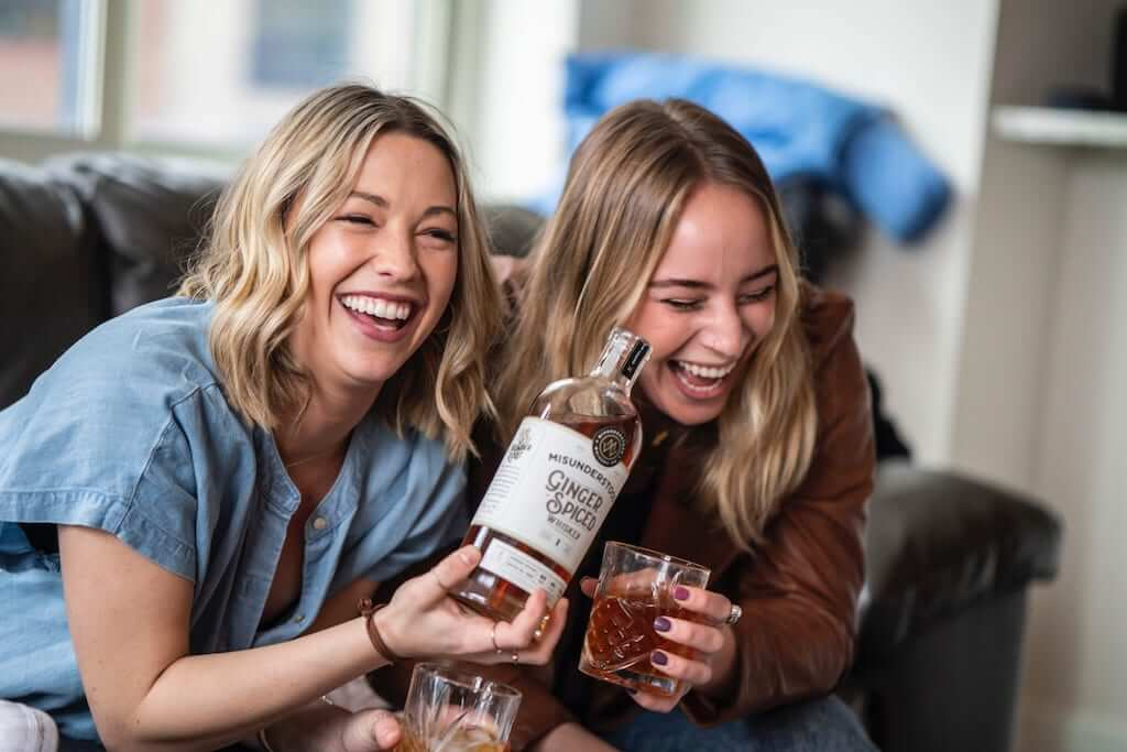 friends wine laughing