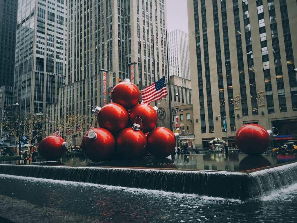 Giant Christmas ornaments on 6th Avenue, New York City