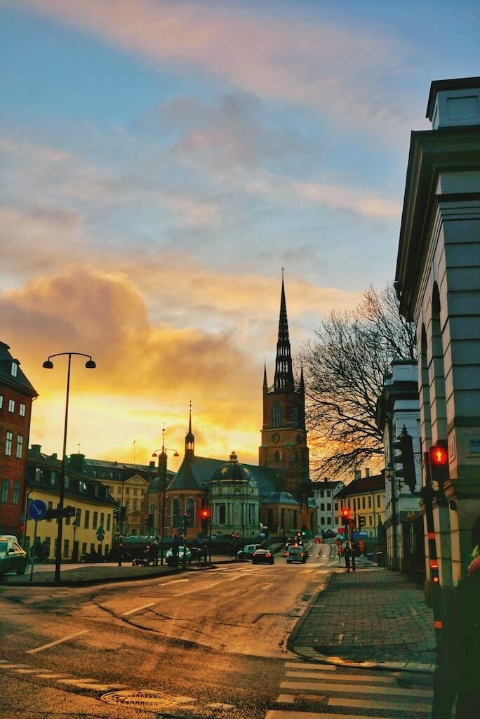 The streets of Stockholm during sunset
