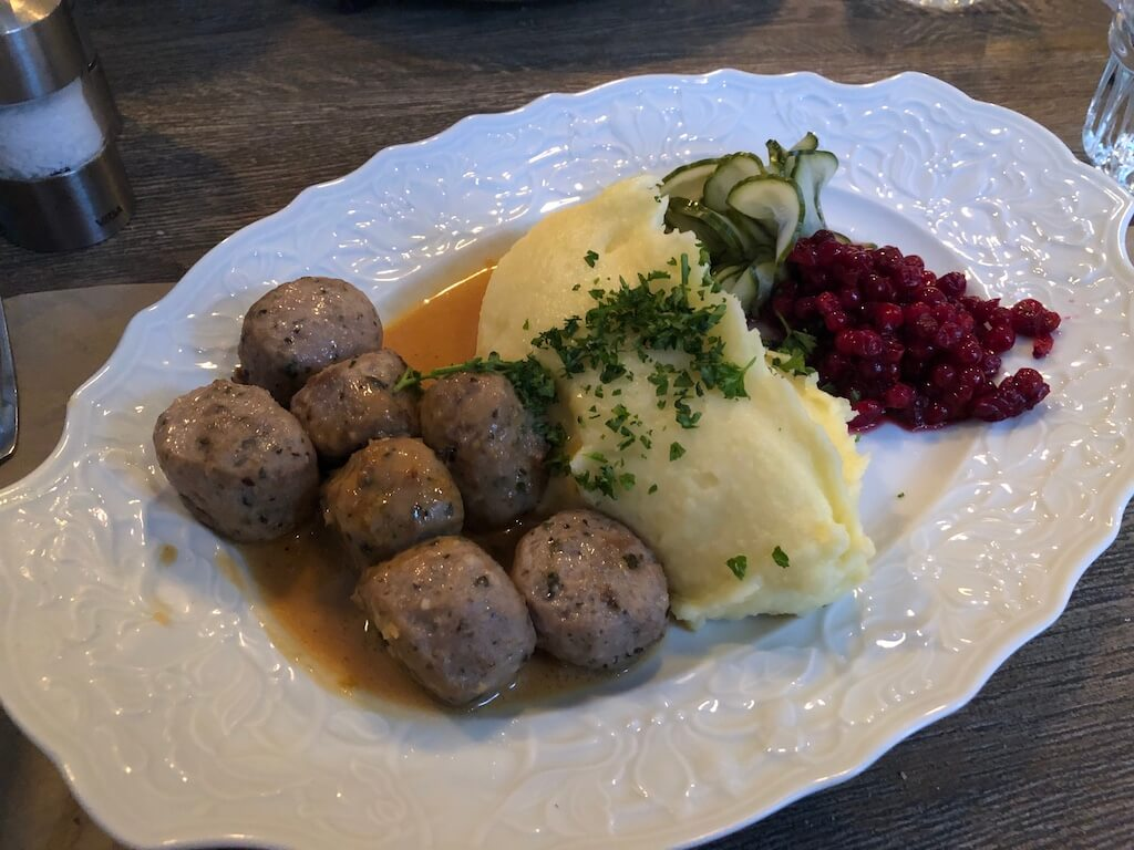 Swedish meatballs with mashed potatoes and lingonberry jam