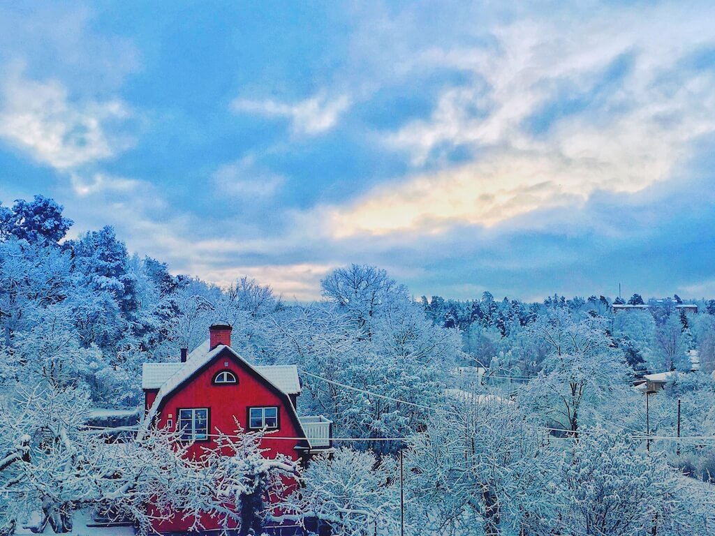 Snowy landscape of Sweden