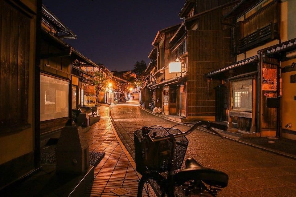 streets of kyoto at night