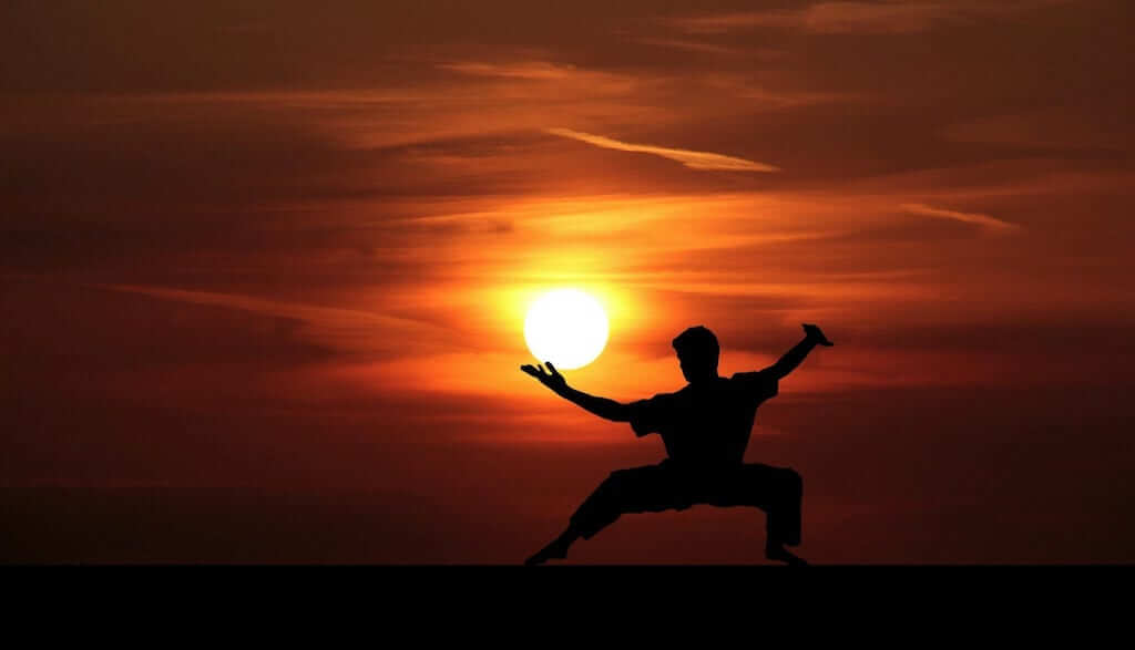 martial arts in the sunset