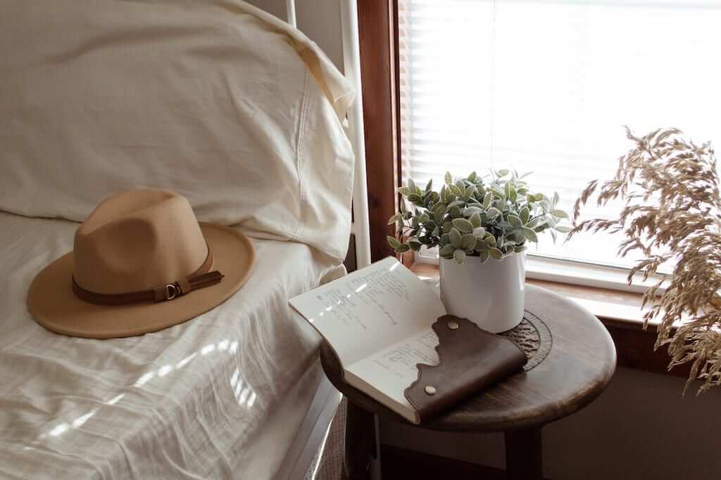notebook beside bed