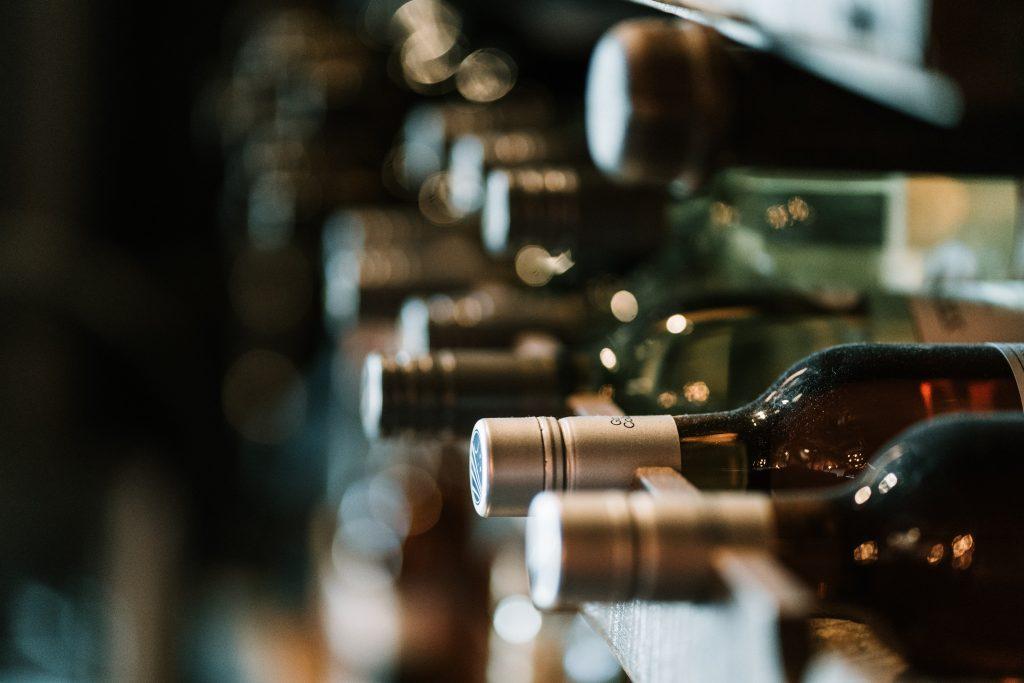 Wine bottles on racks