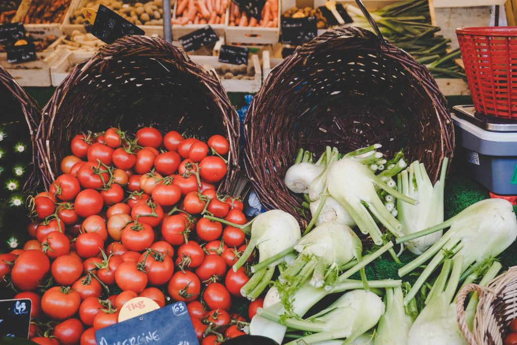 Les Halles and vegetables in France