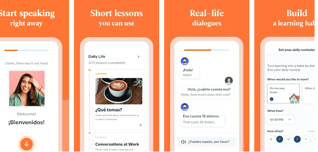 Showing features of Babbel, short lessons, real-life dialogues and opportunitiy to build a language learning habbit.
