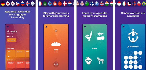 Shows the interface of Drops, indicates the 5-minute time limit, matching words with pictures, topics found on Drops app