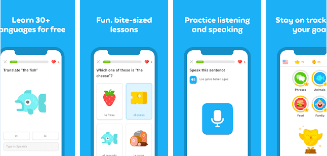 Gamified, fun, bite-size lessons, practise vocabulary listening and speaking and follow your progress with Duolingo app