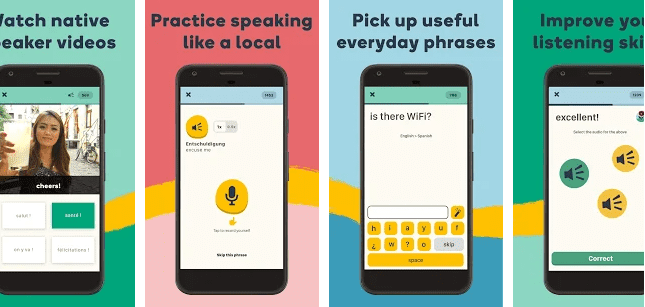 Showinf different features of Memrise like videos from Russian native speakers, practicing speaking like a local, learning everyday phrases and improving listening skills