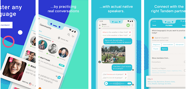 language dating app, instant messaging, practising real conversations with native speakers, social media app and language exchange with Tandem app