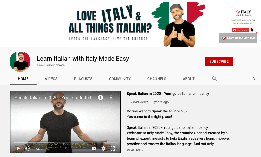 italian made easy youtube channel