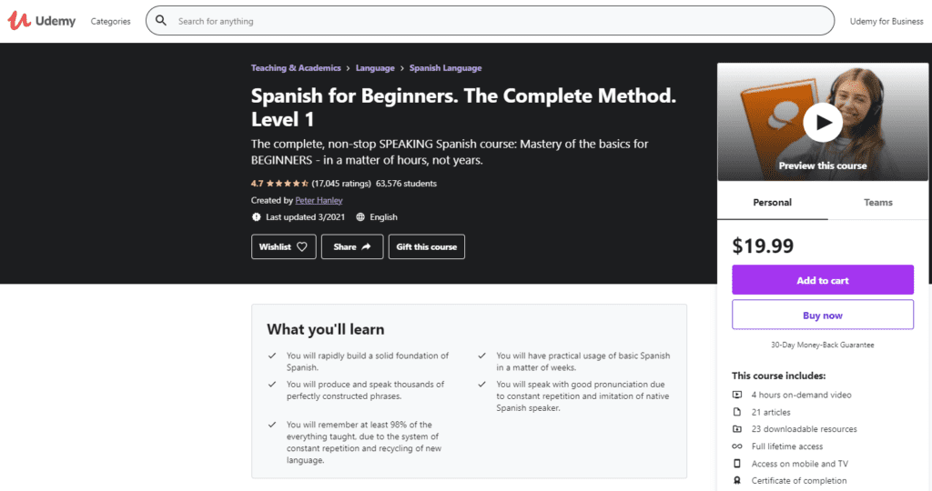 Udemy spanish for beginners