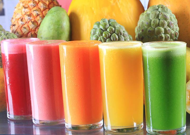 A variety of fruit juices