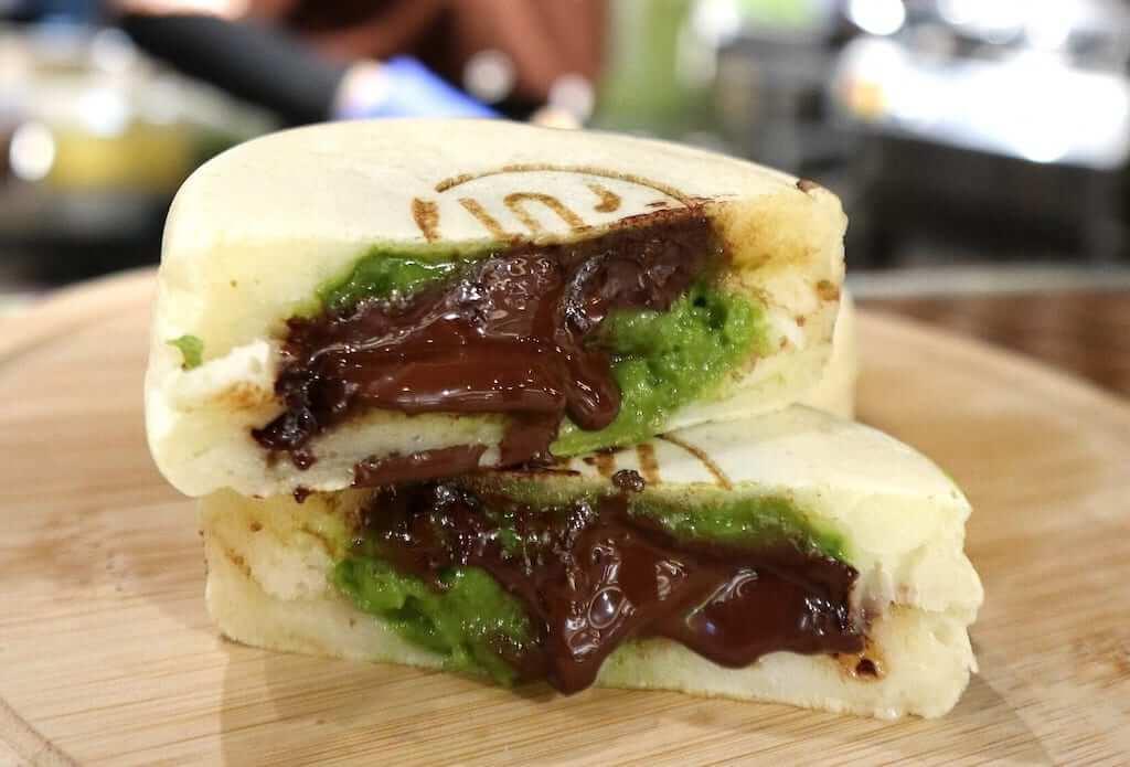 Matcha lava cake oozing with chocolate