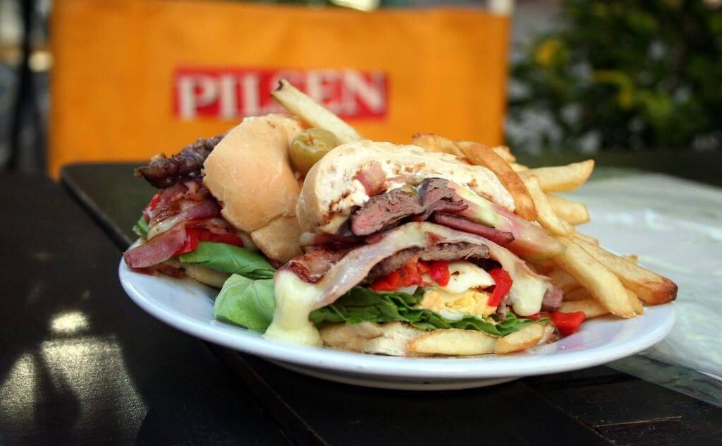 Big sandwich called Chivitos