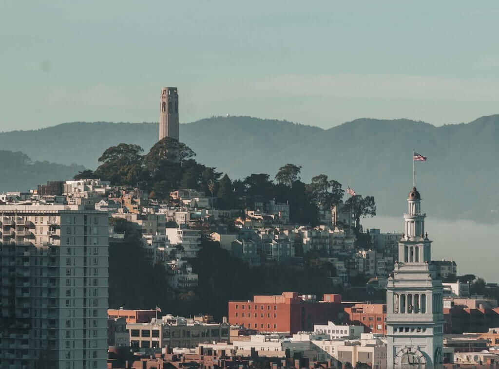colt tower and ferry building in san francisco