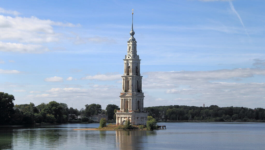 The belfry of the cathedral in the underwater city of Kalyazin