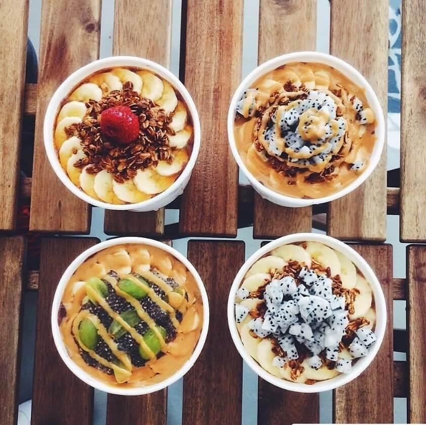 Four bowls of acai