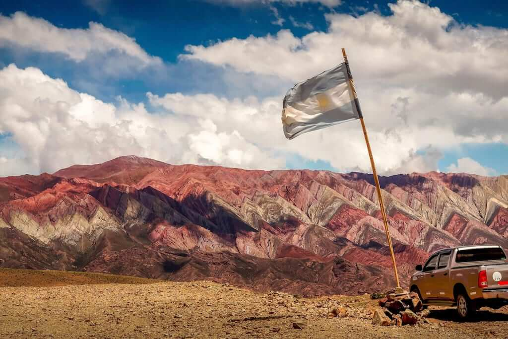 argentina flag in the andes
