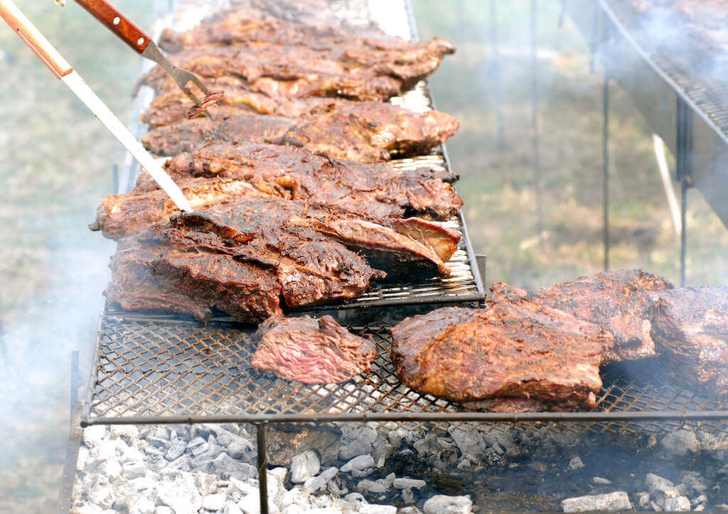 Beef on a barbecue in Uruguay