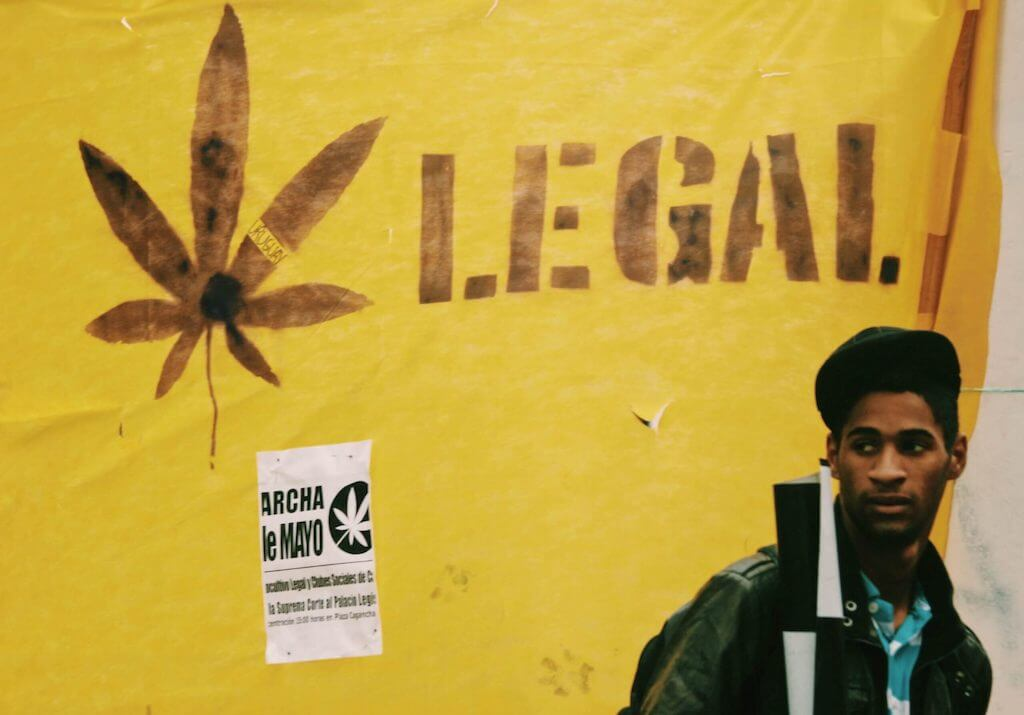 Yellow wall supporting legalization of cannabis