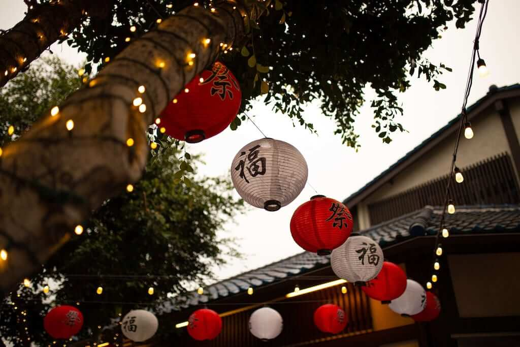 Chinese lanterns hanging from the roof