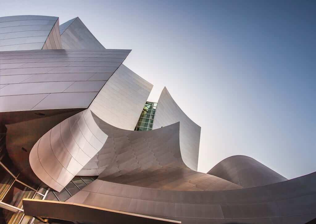 The facade of Walt Disney Concert Hall